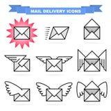 Icônes de distribution du courrier Photo libre de droits