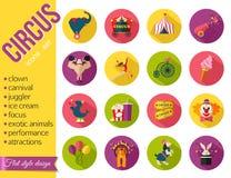 Icônes de divertissement de cirque réglées Conception plate de style Images stock