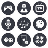 Icônes de divertissement Jeu, bowling et puzzle Photo stock