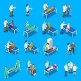 Icônes de docteur Patient Communication Isometric réglées Image stock