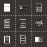Icônes de document noires de vecteur réglées Images libres de droits