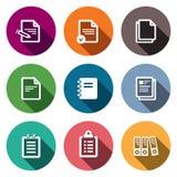 Icônes de documents sur papier de bloc-notes réglées Images stock