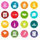 Icônes de drapeau de Jour de la Déclaration d'Indépendance ensemble de beaucoup de couleurs Photographie stock