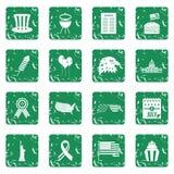 Icônes de drapeau de Jour de la Déclaration d'Indépendance réglées grunges Images libres de droits