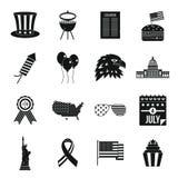 Icônes de drapeau de Jour de la Déclaration d'Indépendance réglées, style simple Photographie stock libre de droits