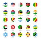Icônes de drapeau de l'Afrique Conception plate d'hexagone Image libre de droits