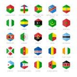 Icônes de drapeau de l'Afrique Conception plate d'hexagone Photo stock