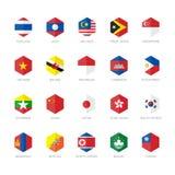 Icônes de drapeau de l'Asie de l'Est et d'Asie du Sud-Est Conception plate d'hexagone Images stock
