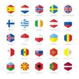 Icônes de drapeau de l'Europe Conception plate d'hexagone Photos stock