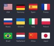 Icônes de drapeaux de pays illustration stock