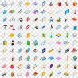 100 icônes de enseignement réglées, style 3d isométrique Image stock
