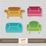 Icônes de fauteuil de vintage réglées. Concept de meubles de grenier Photos stock