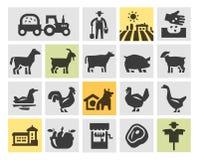 Icônes de ferme réglées Illustration de vecteur Photos stock