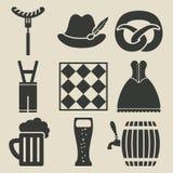 Icônes de festival de bière d'Oktoberfest réglées illustration de vecteur