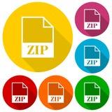 Icônes de fichier zip réglées avec la longue ombre Photo libre de droits
