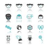 Icônes de fille avec la réflexion illustration stock