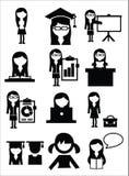 Icônes de fille d'école d'éducation Photos libres de droits
