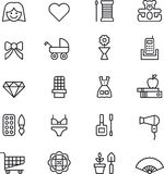 Icônes de fille et de femme Images stock