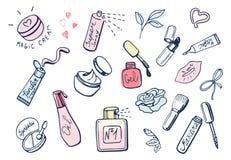 Icônes de fille mignonnes d'articles de maquillage réglées Photos stock