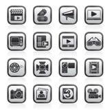 Icônes de film et de cinéma Image stock