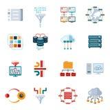 Icônes de filtrage plates de données illustration stock