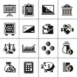Icônes de finances réglées noires Images libres de droits