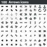 100 icônes de flèches réglées Image stock