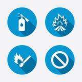 Icônes de flamme du feu Symbole d'arrêt d'interdiction illustration stock