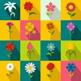 Icônes de fleur réglées, style plat Photos stock