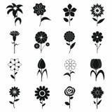 Icônes de fleur réglées, style simple noir Photographie stock