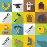 Icônes de forgeron réglées, style plat Image stock