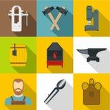 Icônes de forgeron réglées, style plat Image libre de droits