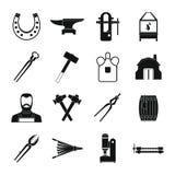 Icônes de forgeron réglées, style simple Photographie stock