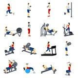 Icônes de formation de gymnase de forme physique réglées Photographie stock