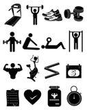 Icônes de forme physique de séance d'entraînement de gymnase réglées illustration stock