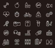 Icônes de forme physique et de bien-être Images libres de droits