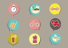 Icônes de forme physique et de santé avec le fond brun Image stock