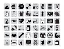 Icônes de forme physique réglées Photographie stock