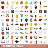 100 icônes de forme physique réglées, style plat Image stock