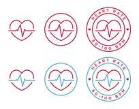 Icônes de fréquence cardiaque de vecteur illustration stock
