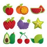 Icônes de fruit Photographie stock