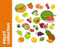 Icônes de fruits de bonbon à vecteur réglées illustration stock