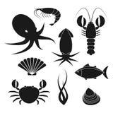 Icônes de fruits de mer réglées Image libre de droits