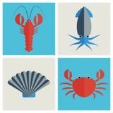 Icônes de fruits de mer réglées Photos libres de droits