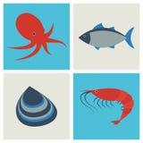 Icônes de fruits de mer réglées Images stock