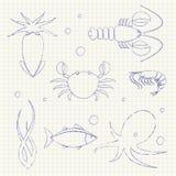 Icônes de fruits de mer réglées Images libres de droits
