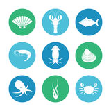 Icônes de fruits de mer réglées Image stock