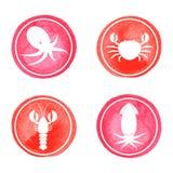 Icônes de fruits de mer réglées Photo stock