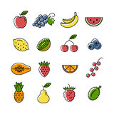 Icônes de fruits et de baies Image stock