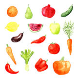 Icônes de fruits et légumes d'aquarelle, vecteur Image libre de droits